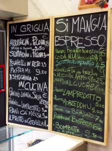 Macelleria Popolare, il menu